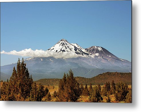 Shasta Metal Print featuring the photograph Family Portrait - Mount Shasta And Shastina Northern California by Christine Till