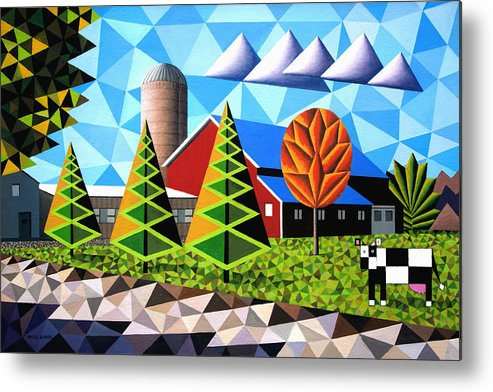 Farm Metal Print featuring the painting Farm With Three Pines And Cow by Bruce Bodden