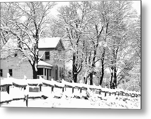 Blizzard Metal Print featuring the photograph Farmhouse In Winter by Roger Soule