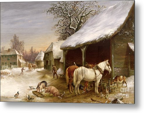 Gg14441 Metal Print featuring the painting Farmyard In Winter by Henry Woollett