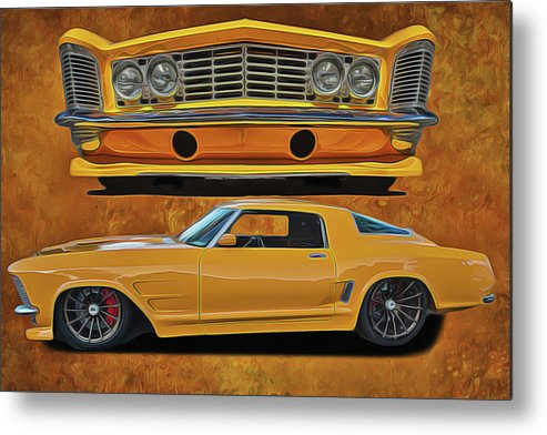 Performance Car Metal Print featuring the painting Fast Yellow by Harry Warrick