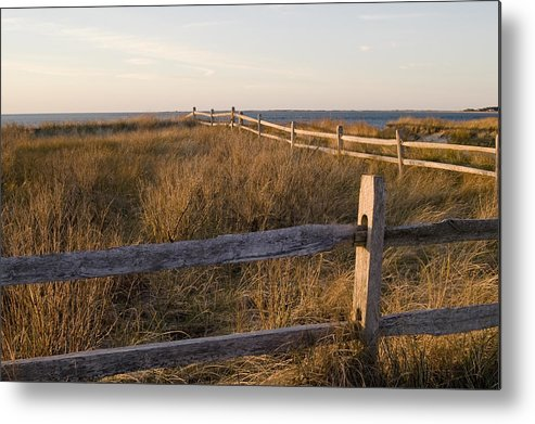 Krauzyk Metal Print featuring the photograph Fence Along The Dunes - Madaket - Nantucket by Henry Krauzyk