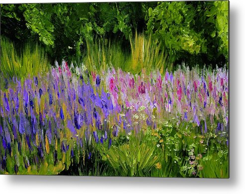 Konkol Metal Print featuring the painting Fields Of Purple by Lisa Konkol
