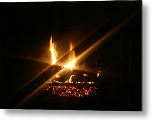Fireplace Metal Print featuring the photograph Fireplace by Ellen Henneke