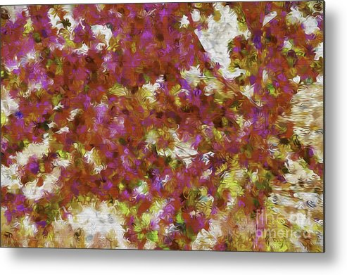 Abstract Metal Print featuring the photograph First Blossoms Of Spring-d by Nancy Marie Ricketts