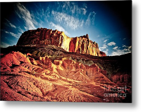 Clouds Metal Print featuring the photograph First Light At Capitol Reef by Irene Abdou