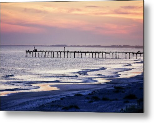 Photo Metal Print featuring the photograph Fishing At Sunset by Alan Hausenflock