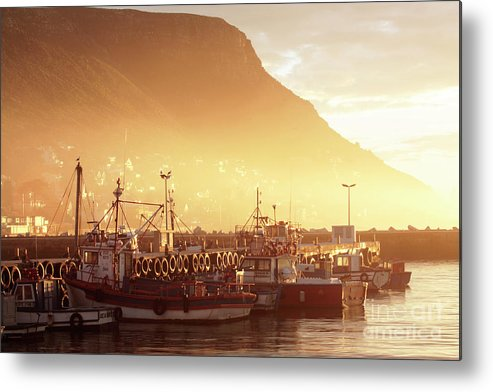 Dawn Metal Print featuring the photograph Fishing Boats At Dawn Kalk Bay South Africa by Neil Overy