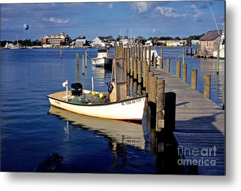 Usa Metal Print featuring the photograph Fishing Boats At Dock Ocracoke Village by Thomas R Fletcher