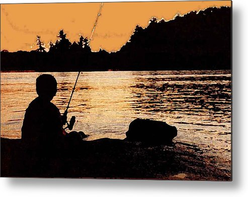Landsape Metal Print featuring the photograph Fishing From A Rock Ae by Lyle Crump
