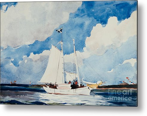 Boat Metal Print featuring the painting Fishing Schooner In Nassau by Winslow Homer