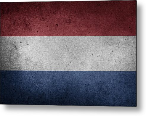 Logo Metal Print featuring the mixed media flag of the Netherlands by FL collection