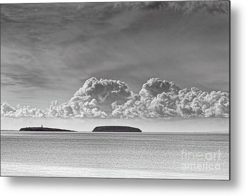Flat Holm Metal Print featuring the photograph Flat Holm And Steep Holm Mono by Steve Purnell