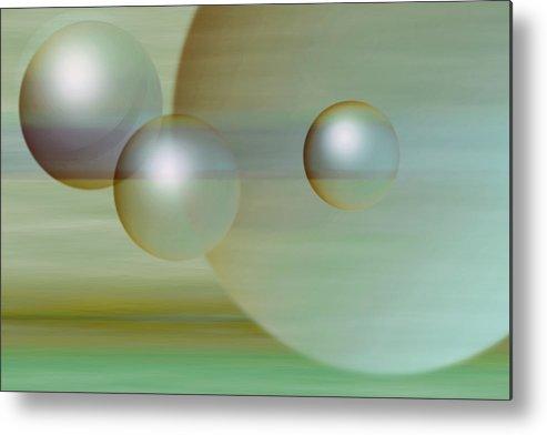 Planet Metal Print featuring the digital art Floating Spheres by Gae Helton