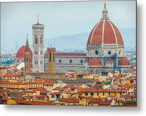 Aerial Metal Print featuring the photograph Florence And The Roofs by JR Photography