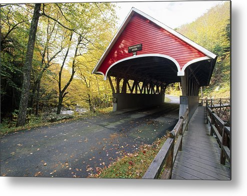 Architecture Metal Print featuring the photograph Flume Bridge Lincoln New Hampshire by George Oze