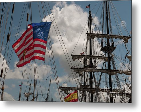 Tall Ship Metal Print featuring the photograph Flying Colors by Dale Powell