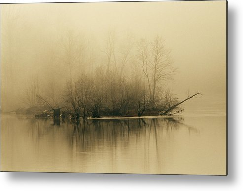 Day Metal Print featuring the photograph Fog Hovers Above The James River by Raymond Gehman