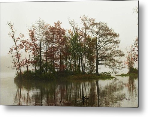 Landscape Metal Print featuring the photograph Fog On The River by Bill Perry