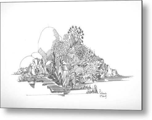 Landscape Metal Print featuring the drawing Foliage Trees And Rocks by Padamvir Singh