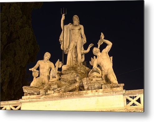 Fontana Metal Print featuring the photograph Fontana Del Nettuno In Piazza Del Popolo by Fabrizio Ruggeri
