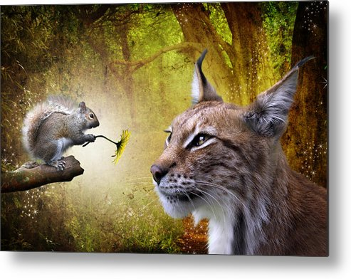 Cat Metal Print featuring the digital art For You by Julie L Hoddinott