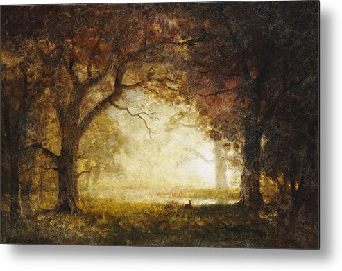 Landscape; American; Wood; Dawn; Clearing; Deer Metal Print featuring the painting Forest Sunrise by Albert Bierstadt
