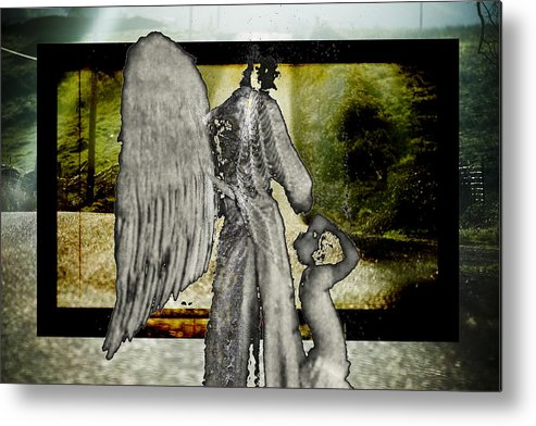 Digital Metal Print featuring the photograph Framed Angel by Tony Wood