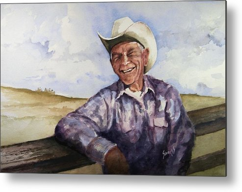 Cowboy Smile Friendly Happy Texan Texas Music Fiddler Metal Print featuring the painting Frankie by Sam Sidders