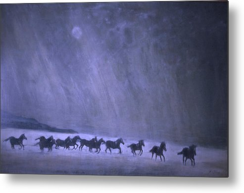 Horse Metal Print featuring the painting Freedom by Jarmo Korhonen aka Jarko