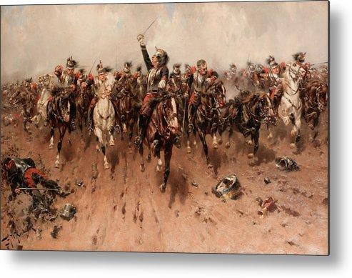 French Cavalry Charging Metal Print featuring the painting French Cavalry Charging by Hermanus Willem Koekkoek