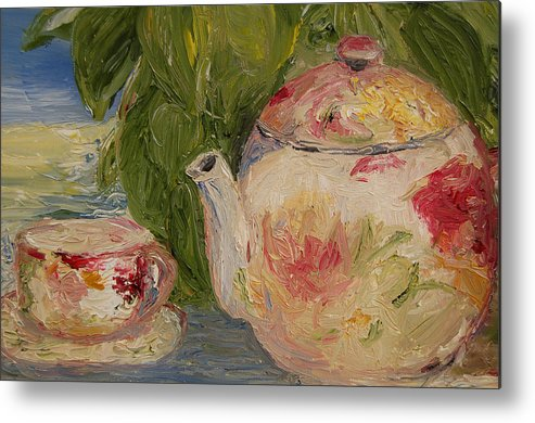 Konkol Metal Print featuring the painting French Teapot by Lisa Konkol