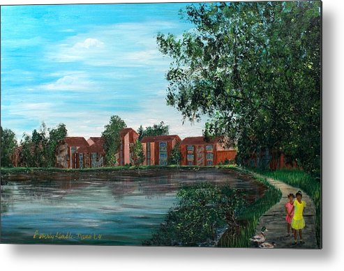 Beverly Kimble Davis Metal Print featuring the painting Frenchmans Wharf Stroll by Beverly Kimble Davis