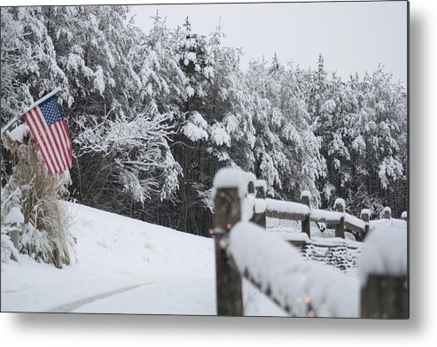 American Metal Print featuring the photograph Fresh Snowfall by Pamela Smith