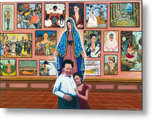 Virgin Of Guadalupe Metal Print featuring the painting Frida And Diego by James RODERICK