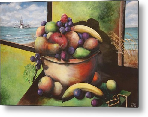 Bowl Filled With Fruit Metal Print featuring the painting Fruit On The Beach by Virginia Bond