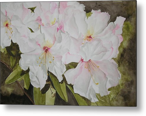 Flowers Metal Print featuring the painting Full Bloom by Jean Blackmer