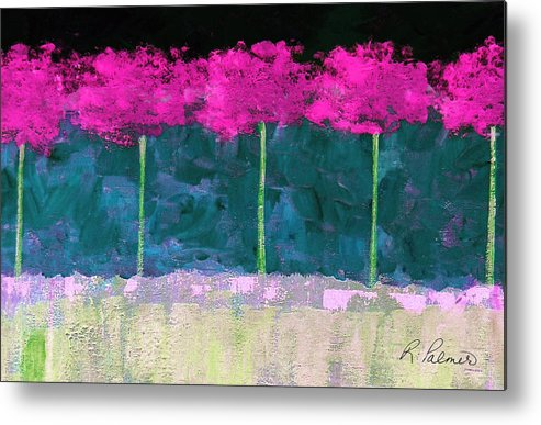 Abstract Metal Print featuring the painting Fuschia Trees by Ruth Palmer