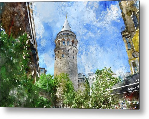 Istanbul Metal Print featuring the photograph Galata Tower In Istanbul Tukey by Brandon Bourdages