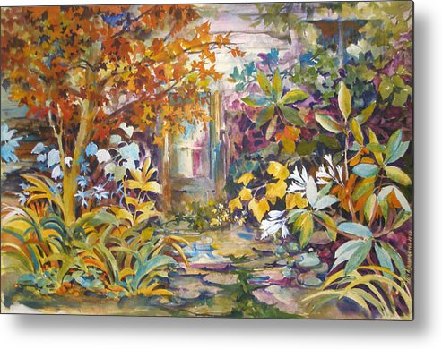 Garden;colorful;garden Walk;bright; Metal Print featuring the painting Garden Study by Lois Mountz