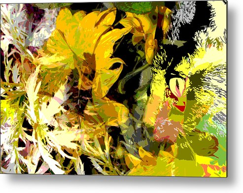 Abstract Metal Print featuring the mixed media Garden Variety Cat by Ruth Palmer