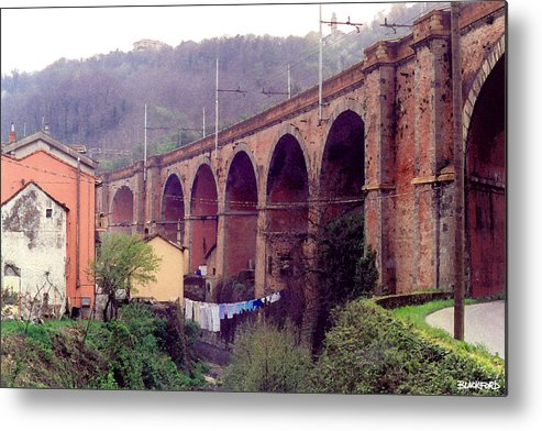 Genoa Metal Print featuring the digital art Genoa Railroad Bridge by Al Blackford