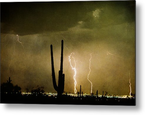 Lightning Metal Print featuring the photograph Giant Saguaro Southwest Lightning Peace Out by James BO Insogna