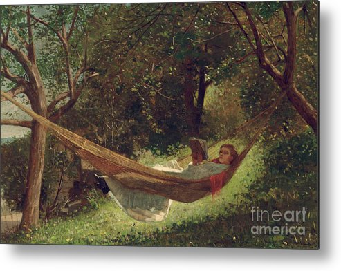 Girl In The Hammock Metal Print featuring the painting Girl In The Hammock by Winslow Homer