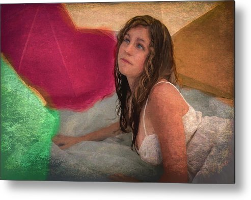 Girl Metal Print featuring the painting Girl In The Pool 4 by Mike Penney