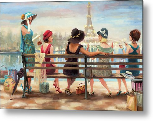 Paris Metal Print featuring the painting Girls Day Out by Steve Henderson