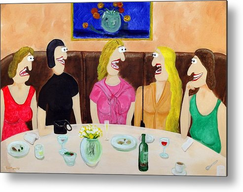 Funism Paintings Metal Print featuring the painting Girls Night Out by Sal Marino