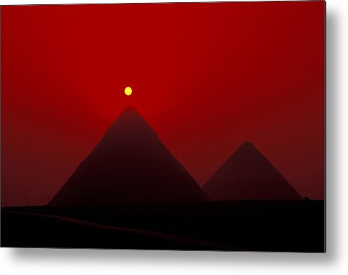 Pyramid Metal Print featuring the photograph Giza Pyrmaids At Sunset In Egypt by Richard Nowitz