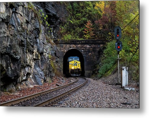 Clinchfield Csx Tunnel Mountains Signal Metal Print featuring the pyrography Gloomy Day On The Clinchfield by Matthew DeLanghe