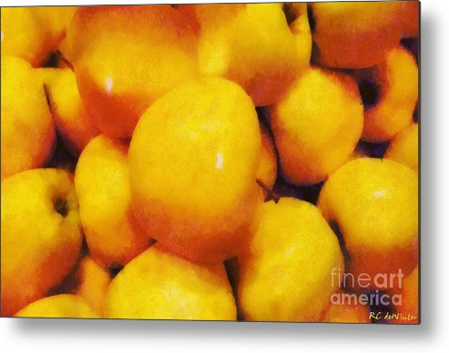 Apples Metal Print featuring the painting Golden Apples Of The Sun by RC DeWinter